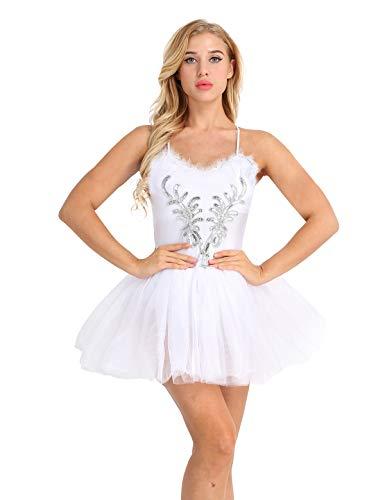 Agoky Mujer Adultas Vestido de Ballet Disfraz de Princesa Lago de Cisnes Vestido Sin Mangas de Espaguetis Lentejuelas Tutú Falda para Actuación de Danza Blanco XX-Large