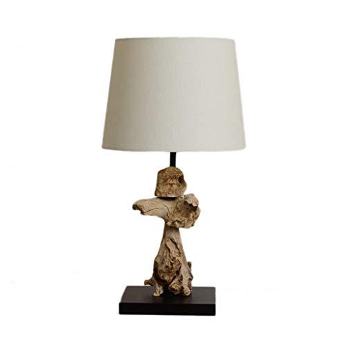 Lámpara lámpara de Lectura de Lectura de Madera de leña y Zen Artes Laterales de mesita de Noche, lámparas de Mesa de Noche, lámpara de Noche, lámparas de Tambor de Mesa de Mesa WKY
