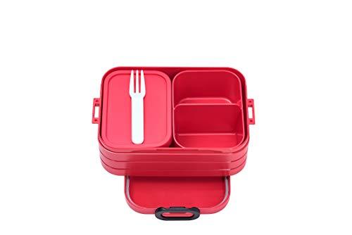 Mepal Bento Take A Break Red Midi-Fiambrera con Compartimentos para hasta 4 panes de Mantequilla,...
