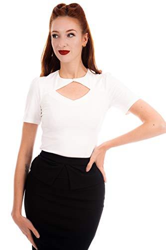 Ro Rox Eva Blusa Vintage Pinup Retro Rockabilly 1950 Formal Oficina - Blanco (L)