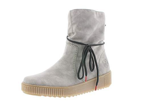 Rieker Damen Stiefel, Frauen Klassische Stiefel, Women Woman Freizeit leger Boots reißverschluss weiblich Lady Ladies feminin,Grey,42 EU / 8 UK