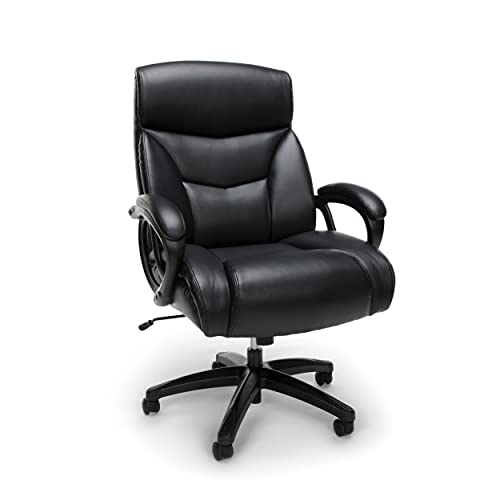 OFM ESS Collection Big and Tall Bonded Leather Executive Chair, Black