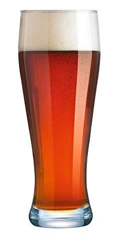 Arcoroc ARC 37111 Bayern Weizenbierglas, Bierglas, 690 ml, mit Füllstrich bei 0,5l, Glas, transparent, 6 Stück