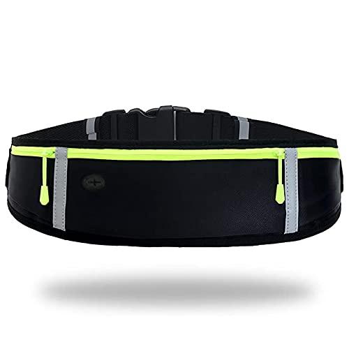 Marsupio sportivo cintura da corsa con 3 tasche Impermeabile Senza rimbalzi o spostamenti per correre e fare jogging, camminare, fare escursioni, andare in bicicletta, sollevare, viaggiare con