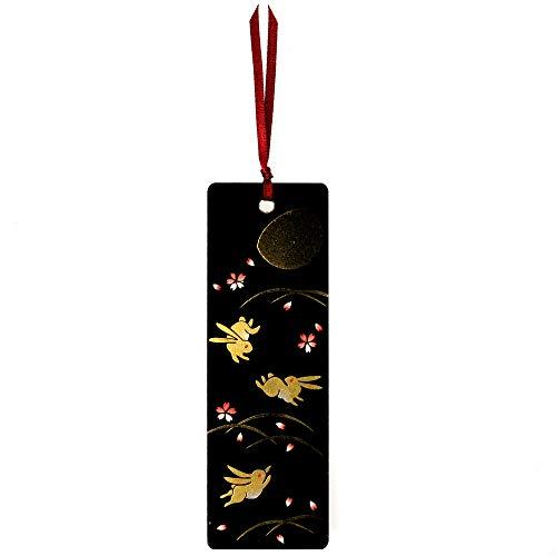 Japanisches Lack-Lesezeichen Mondhase & Kirschblüten
