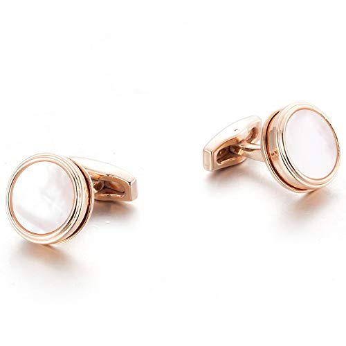 XKSWZD Gemelos de Oro Rosa Chapado Gemelos de Novio de Boda Gemelos de Perlas de Madre Natural 51926