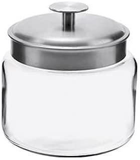 Anchor Hocking Montana Glass Jars with Fresh Sealed Lids, Brushed Metal, 64 oz (Set of 2)