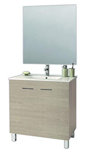 Juego de Mueble de Baño Modelo ESPACE, Conjunto formado por Mueble de Baño Dos Puertas Lacado en Cambrián, Medidas (60x45x80), Lavabo Encimera y Espejo. Compacto no precisa montaje