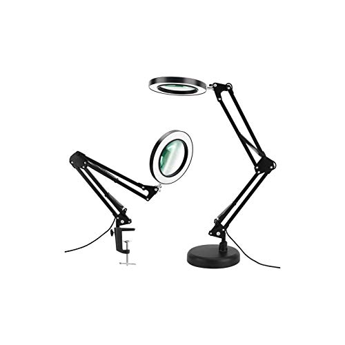 Taigeguang Magnifier Desk Lamp, Dimmable LED Magnifying Lamp with Clamp and Stand, 3 Color Modes, Real Glass Lens, Adjustable Swivel Arm Light for Reading Craft Close Work-Black, TGGDLMWBB