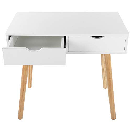 FECAMOS Mesa de Ordenador Tipo H Escritorio Multifuncional 2 cajones Blanco 4 Patas de Roble para Materiales para Mostrar Ordenador para artículos Diversos