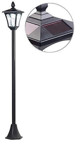Royal Gardineer Gartenleuchte Solar: Solar-LED-Gartenlaterne, Dämmerungssensor, 40 lm, dimmbar, IP44, 1,6 m (Standlaterne)