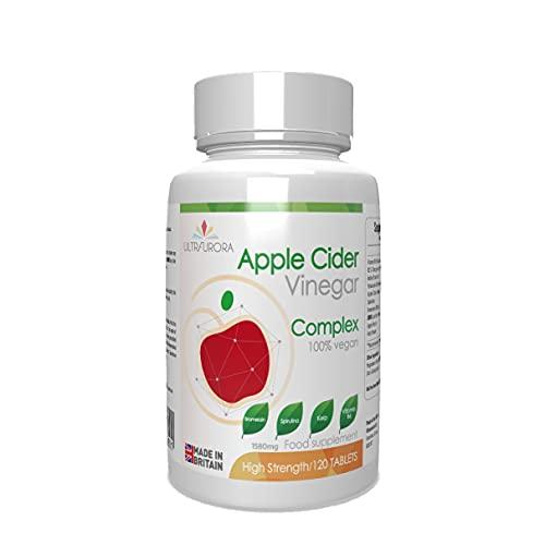 Apple Cider Vinegar Complex - 120 Vegan Tablets - 1580MG - with bromelain, kelp, spirulina and Vitamin b6 - Gluten Free –Non GMO - Made in UK