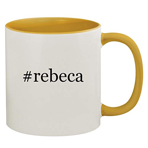 #rebeca - 11oz Hashtag Ceramic Colored Inside & Handle Coffee Mug, Golden Yellow