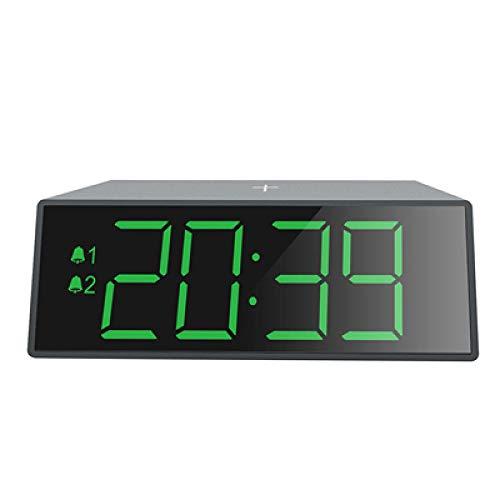 Renqian elektronische led-wekker met 10 W snelle, draadloze oplader. Digitale wekker met 12/24-uursweergave. groen