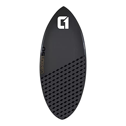"""Circle One 54"""" (137cm) Skimboard de Fibra de Carbon y EPS Epoxy para Playa y Olas – Gris"""