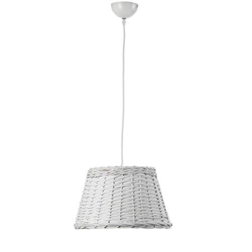 Onli 4887/S Lampada a Sospensione Cestino E27, Grigio Chiaro, 35 x h 80cm, metallo;rattan