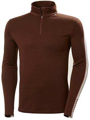 Helly-Hansen Mens LIFA Merino Heavyweight 1/2 Zip Base Layer Shirt, 793 Redwood Melange, XX-Large