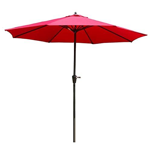 Parasol paraguas vinieron los sombrillas de la mesa de los mercados de 9 pies con dosel de poliéster, paraguas impermeable para el patio para el césped del porche de la playa, 8 costillas de hierro ro