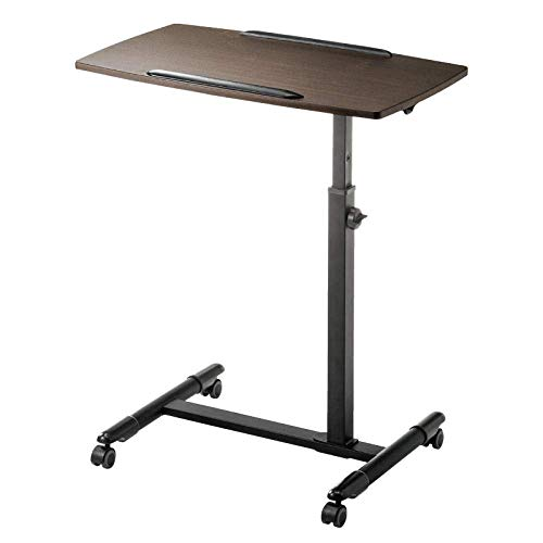 Aluminum Alloy Laptop Stand Adjustable with Brown Density Board,Adjusable height, Lockable Casters,Pc Holder for MacBook Pro/Air,Samsung HP Surface Notebook