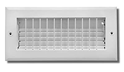 "10""w X 8""h Adjustable AIR Supply Diffuser - HVAC Vent Cover Sidewall or Ceiling - Grille Register - High Airflow - White [Outer Dimensions: 11.75""w X 9.75""h]"