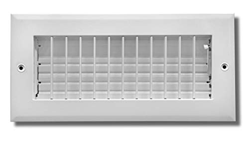 6' X 4' Adjustable AIR Supply Diffuser - HVAC Vent Cover Sidewall or Ceiling - Grille Register - High Airflow - White [Outer Dimensions: 7.75'w X 5.75'h]