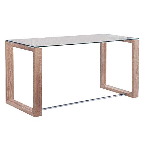 Adec - Mesa de Estudio Oficina Office, Cristal Transparente y Patas Oak (Roble), Medidas 140 cm x 70 x 75 de Altura