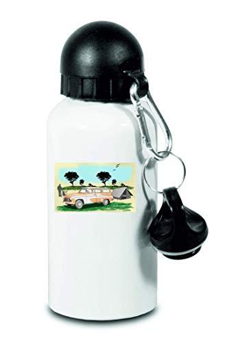 Druckerlebnis24 Trinkflasche - Pkw Oldtimer Kombi Tourist - Für Kinder, Schule, Sport, Fitness - Schlanke Wasserflasche aus Aluminium