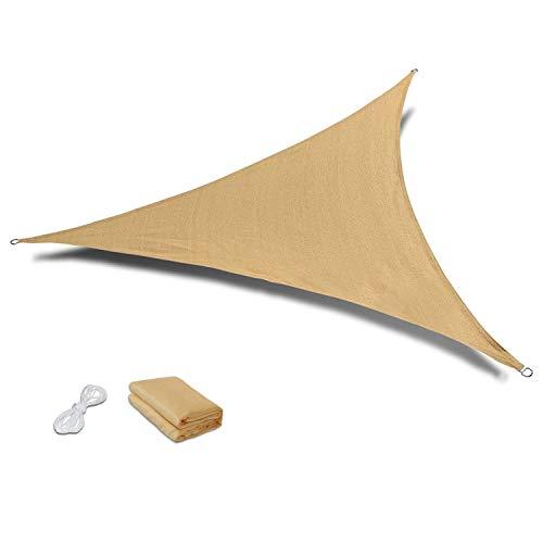 MOLPE 3.6m x 3.6m x 3.6m Toldo Vela de Sombra Triangular, Shade Sail, Bloque UV para Jardín y Al Aire Libre (3.6 x 3.6 x 3.6 Metros)