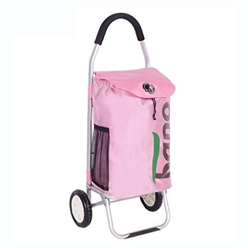 Einkaufswagen- Warenkorb Anfang Grocery Einkaufswagen Trolley Faltbare Gepäckanhänger Kleine Bollerwagen Vans Kinderwagen, Größe Name: 98 * 45 * 35cm (Color : Pink, Size : 98 * 45 * 35cm)