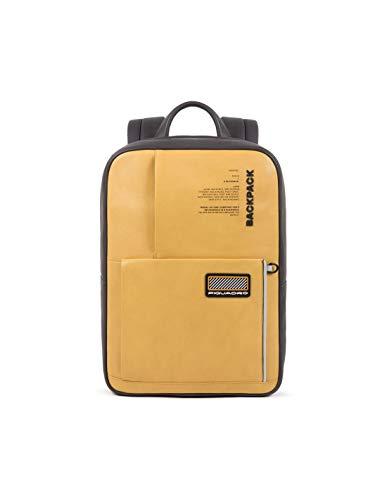 PIQUADRO Zaino giallo porta computer 14' e tablet vera pelle linea Ermes CA5144W106/GIALLO 28 x 37,5 x 8cm