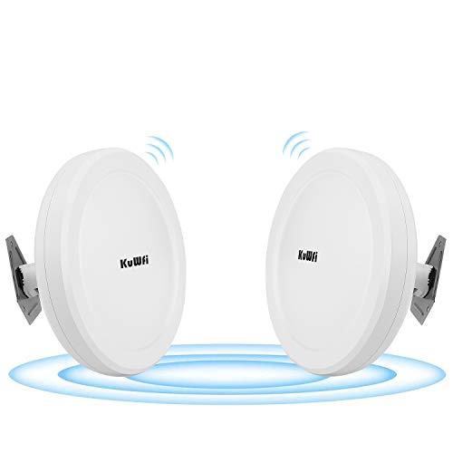KuWFi Long Range WiFi Bridge 11ac Outdoor Access Point to Point Wireless Bridge High Speeds 5.8G 900M Support PoE 2-Packs