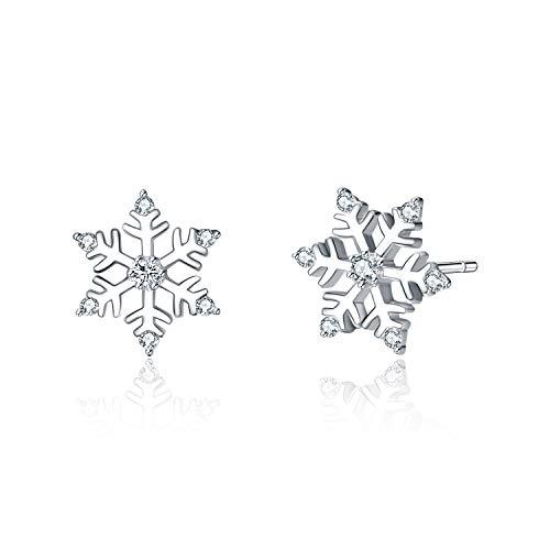 Pendientes de copo de nieve, de plata de ley 925 con circonitas blancas para mujeres, adolescentes y niñas