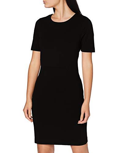 Vila Clothes Damen Vifellow S/S Dress Kleid, Schwarz (Black), 36 (Herstellergröße: S)