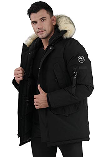 Molemsx Men's Parkas with Hoods, Winter Fashion Patch Down Alternative Trench Coat Insulated Windproof Hiking Snowy Fishing Coats Hood with Faux Fur for Cold Weather Black XX-Large