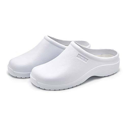 Zuecos Unisex, Trabajo Antideslizante, Calzado Informal de jardín, Cocina, Zapatillas de enfermería, Zapato (Blanco, Numeric_40)