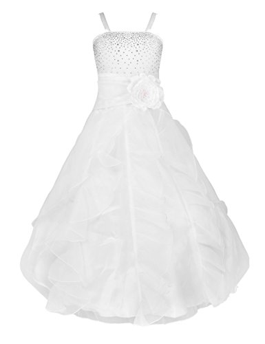 YiZYiF Enfant Filles Robe Mariage Demoiselle robe Bustier Paillettés Jupe Longue Organza  -  Blanc 13-14 ans
