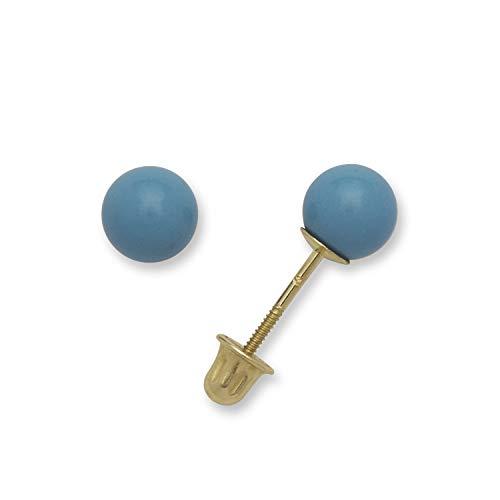 Jewelryweb Pendientes de tuerca de oro amarillo macizo de 14 quilates con forma de bola azul turquesa (3-8 mm) azul