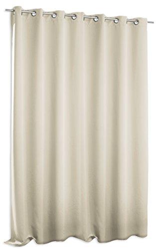 Verdunklungsgardine Blackout extra breit ca. 295x245 cm Ösen Vorhang Blickdicht Gardine #1389 (Ecru)