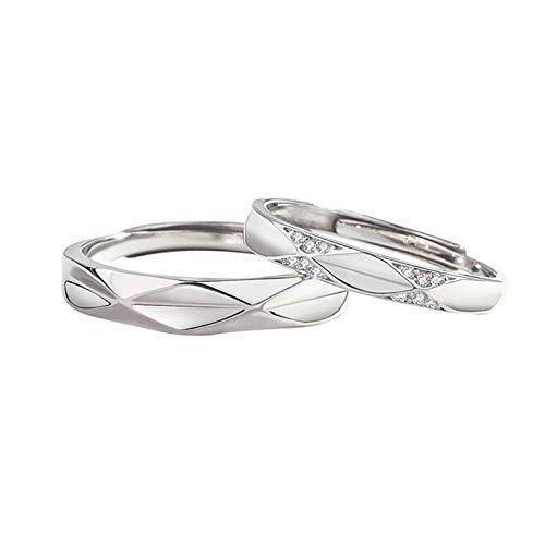 Adisaer - Anillo de plata regulable, alianza para mujer, plata 925, forma de rombo, alianza, plata 925, anillo de boda, anillo de plata ajustable, circonia cúbica, blanco brillante