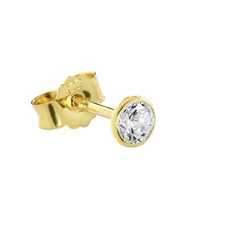 NKlaus Einzel Ohrstecker echt Gold 333er 8 Karat 4mm Cubic Zirkonia Damen Herren 0,45g 3753