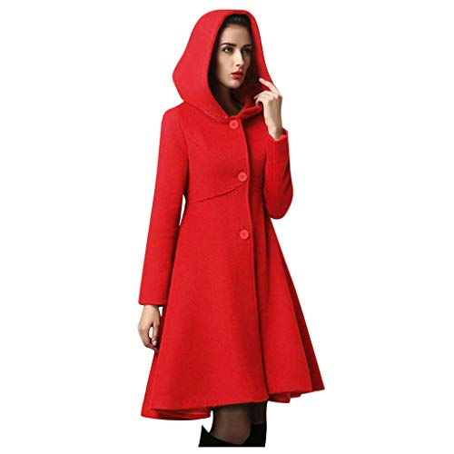 PLOT Damen Mantel Winter Einfarbig Trenchcoat Elegant Wintermantel mit Kapuze Oversized Outwear Windjacke Lang Wollmantel Coat Mantel
