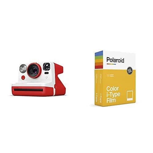 Polaroid - 9032 - Polaroid Now Fotocamera Istantanea i-Type, Rosso + 6009 - Pellicola Istantanea Colore per i-Type – Confezione Doppia