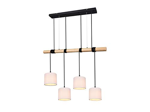 Dimmbare LED Pendelleuchte mehrflammig, Materialmix Metall, Holz & Stofflampenschirme in Weiß, 4 flammig