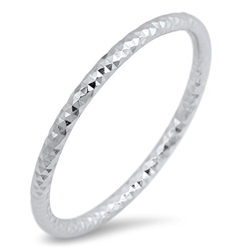 Thin Diamond-Cut Stackable Wedding Ring New .925 Sterling Silver Band Size 8