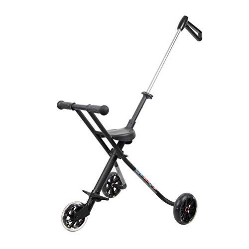 Youpin Carrito de bebé plegable portátil de 3 ruedas para niños de 3 a 8 años de edad, de aleación de aluminio simple, para exteriores, para niños (color: negro)