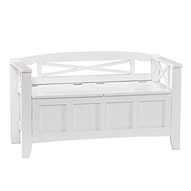 Southern Enterprises Cutler Storage Entryway Bench, White Finish