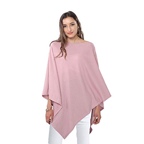 DiaryLook Ladies Button Poncho Cape Cashmere Feel Multiway Shawl Scarf Wrap (Pink)