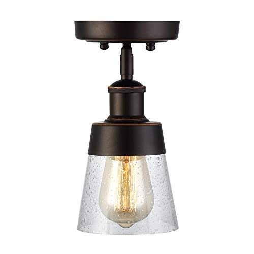Rustic Glass Flush Mount Light Fixture Mini Clear Seeded Glass Shade Semi Flush Mount Ceiling Light for Hallway Farmhouse Kitchen Entryway, Oil Rubbed Bronze