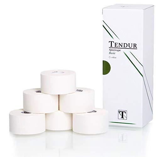 TENDUR Sporttape Basic White [3,8cm x 13,7m] - Sport Tape mit Zinkoxid in Weiß [6 Rollen]