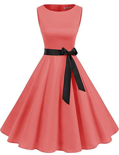 Gardenwed Damen 1950er Vintage Cocktailkleid Rockabilly Retro Schwingen Kleid Faltenrock Coral L